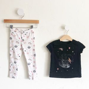 2T Gymboree Girls Set - Space Shirt & Leggings